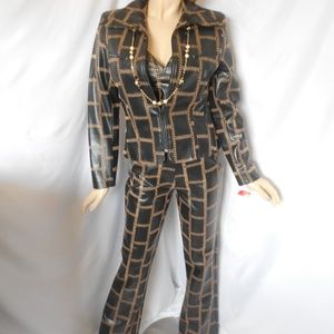 Nwt DINA BAR-EL Black 3 PC Pant Suit Sz 8/M